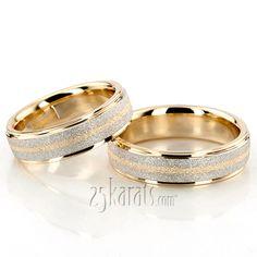 Stylish Stone Finish Basic Design Wedding Band Set