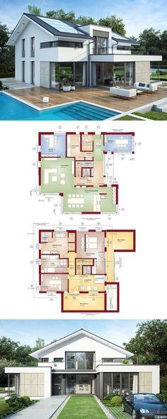 Fertighaus Bauhaustil mit Satteldach - Haus Concept-M 211 Bien Zenker - Einfamilienhaus bauen moderne Architektur mit Flachdachanbau Grundriss offene Küche Terrasse mit Pool - HausbauDirekt.de
