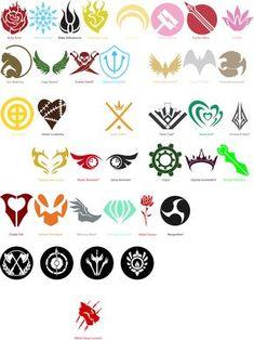 ALL RWBY Emblems by EmBellEm // I think the one's with the * are not confirmed. Rwby Anime, Rwby Fanart, Corpse Party, Rwby Symbols, Fandom Symbols, Geeks, Glynda Goodwitch, Neon Katt, Qrow Branwen