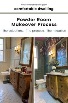 We have an amazing powder room makeover for you! If you have an older Victorian home and want to know how to bring out its architecture Green Bathroom Decor, Modern Bathroom Decor, Small Bathroom, Big Living Rooms, Desk In Living Room, Home Styles Exterior, Dulux Paint, Old Victorian Homes, Powder Room Decor