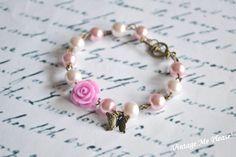 Flower Bracelet Pearl Bracelet Bridesmaid by VintageMePlease, Flower Girl Bracelets, Flower Girl Jewelry, Butterfly Bracelet, Flower Girl Gifts, Cute Bracelets, Flower Bracelet, Pearl Bracelet, Diy Bracelet, Bridesmaid Bracelet