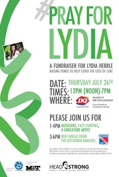 Pray for Lydia Fundraiser, July 26 DQLaurelwood Waterloo Ontario, Caricature Artist, Raise Funds, Fundraising, Pray, Community, Words, Inspire, Events