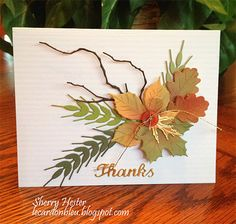 handmade card from Le Cardon Bleu: Autumn Greetings . artistic montage of leaves, wheat stalks and curvy branches . luf the leaf coloring . Fall Cards, Holiday Cards, Handmade Thanksgiving Cards, Leaf Cards, Die Cut Cards, Copics, Halloween Cards, Card Tags, Flower Cards