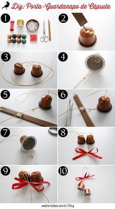porta-guardanapo feito de cápsula de café para decorar a mesa ou a árvore de natal. Projeto diy super criativo para uma decoração barata no natal.
