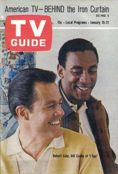 """TV Guide January 15, 1966 - Bill Cosby with Robert Culp stars of """" I Spy """"."""