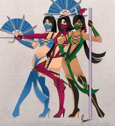 Kitana, Mileena, and Jade