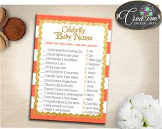 CELEBRITY BABY NAMES baby shower game with glitter gold and orange stripes theme, digital files, Jpg Pdf, instant download - bs003 #babyshowergifts #babyshowerideas
