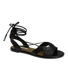 Black Leather Wrap Fantine Gladiator Sandal