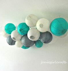Items similar to Customizable Large Paper Lantern Cluster Mobiles on Etsy Baby Boy Nursey, Nursing Chair, Guest Room Decor, Green Sky, Evening Dresses For Weddings, Colour List, Paper Lanterns, Wedding Paper, Color Pallets