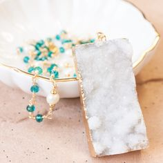 Gialos Sparkly White Druzy Necklace Gold by NesoiCollection
