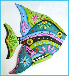 Hand Painted Metal Wall Art, A delightful collection of hand painted metal wall hangings - Whimsical - Funky Art - Tropical Home Decor - Garden Art Decorative metal outdoor garden decor - Patio Art - Handcrafted from recycled steel drums in Haiti Design Tropical, Tropical Wall Decor, Fish Wall Decor, Fish Wall Art, Tropical Interior, Tropical Furniture, Tropical Artwork, Tropical Colors, Fish Artwork