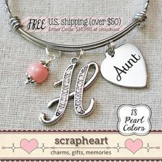 AUNT Bracelet, Aunt Auntie Charm Bangle Bracelet, Gift for New Aunt - by ScrapheartGifts