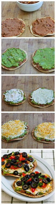 Seven-Layer Tostadas Ingredients: 1 can oz.) refried pinto beans (or use homemade refried beans) 1 cups guacamole (purchased or homemade guacamole) 1 cup light sour cream tsp. Mexican Dishes, Mexican Food Recipes, Vegetarian Recipes, Cooking Recipes, Healthy Recipes, I Love Food, Good Food, Yummy Food, Tasty