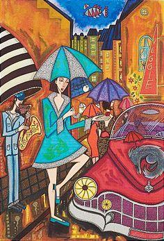 Angelica Wiik Paraplyskymning färglitografi