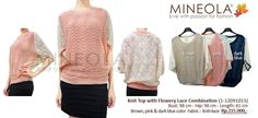 Knit Top with Flowery Lace Combination (1-12091015)  Price: Rp.215.000,- Color: Brown, Pink, Dark Blue    Material: Knit + Lace.  Measurement: Bust: 98cm - Hip: 96cm - Length: 85 cm    For question and ordering please call our CS (Emil) directly at:  - 0852.8558.5868 or (021) 9293.8337  - Blackberry PIN: 26FFFFD2 (working hour)    の場合は在庫状況とご注文通話/ SMSたちCS1してください::0852.8558.5868 / 021から92938337(エミール)を、私たちのを追加します。BB PIN 26FFFFD2