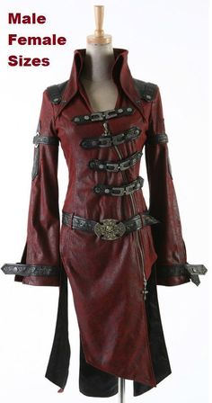 NEW PUNK Rave Gothic Vampire Jacket Coat Y261 Red ALL STOCK IN AUSTRALIA