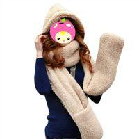 Moda 1pc mujeres de la alta calidad 3 en 1 Invierno de lana Cap con los guantes de la bufanda de color Sombrero Set de accesorios 2 para su opción