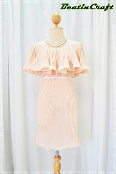 Adjust Your Style Pleats Chiffon Shoulder less Nude by BeatinCraft