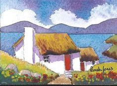 ACEO Original watercolour Crofters Cottage by Pamelajonesartstudio, £5.50