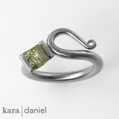 raw diamond crystal ~ channel-set in stainless scroll ring by kara | daniel, via Flickr