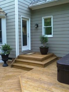 Steps starting outside the door would lower the railing and improve the view from inside. Multi Level Deck Design Ideas, Pictures, Remodel, and Decor - page 3