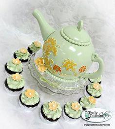 Pale Green Teapot Cake & Cupcakes Cake by TrulyCustom Gorgeous Cakes, Pretty Cakes, Cute Cakes, Amazing Cakes, Special Birthday Cakes, 80 Birthday Cake, Fondant Cakes, Cupcake Cakes, Party Cupcakes