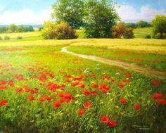 Watercolor Landscape, Landscape Art, Landscape Paintings, Beautiful Paintings, Beautiful Landscapes, Poppy Field Painting, Bob Ross Paintings, Watercolor Pictures, Naive Art