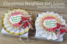 Stampin' UP! mini pizza box gift idea with Be Merry rosette ornament on top. Perfect for gift giving: cookies, candy, gift cards, jewelry, notes, photos and more! by Patty Bennett