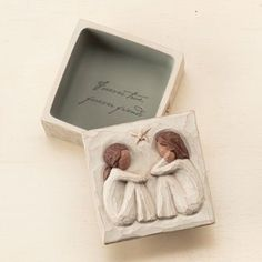 """$13.50 Willow Tree Friendship Keepsake box is small sweet place to keep treasures, the carved lid is not attached. The inside bottom of the box reveals the sentiment: """"Forever true, forever friends"""" as a hidden discovery. Just the right size for jewelry."""