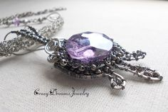 Purple pendant, Purple gothic necklace, Purple wire wrapped necklace, Wire jewelry, Filigree jewelry, Unique necklaces for women, Handmade - pinned by pin4etsy.com