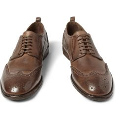 Alexander McQueenWashed-Leather Brogues|MR PORTER