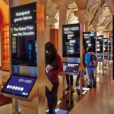 """Time-line"", graphic- and interactive exhibition design, Nobel museum, Stockholm, 2012 Interaktives Design, Kiosk Design, Signage Design, Display Design, Stand Design, Banner Design, Graphic Design, Media Design, Exhibition Booth Design"