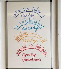 lash tech Todays lesson on the board, lash mapping! Here are four basic lash maps to style your clients eyes with Eyelash Studio, Eyelash Salon, Eyelash Curler, Eyelash Extensions Salons, Elf Make Up, Eyelash Technician, Lash Quotes, Lash Room, Lashes Logo