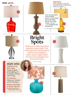 Lamps. Love the cutwork lamp.