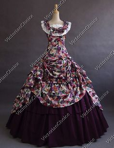 Victorian Southern Belle Formal Period Dress Ball Gown Reenactment Theatre Clothing