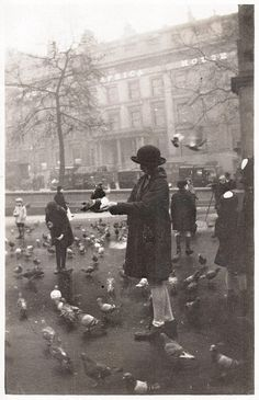 Trafalgar Square, London - 1920s  The birds have been going there for many years.