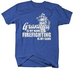 Shirts By Sarah Men's Funny Grandpa Is Name Firefighting Game Shirt Gift Father's Day