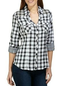 Swans Style is the top online fashion store for women. Shop sexy club dresses, jeans, shoes, bodysuits, skirts and more. Western Tops, Fashion Over 40, Corsage, Shirt Blouses, Blouse Designs, Tartan, Casual Shirts, Fashion Dresses, Flannels