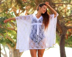 Coral Lace Kaftan Dress  Tropical Beach Cover Up Caftan in