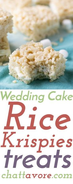 Wedding cake Rice Krispies treats are pretty much heaven in Rice Krispies treats form. After you try them you'll never want regular RKTs again!   Recipe from http://Chattavore.com