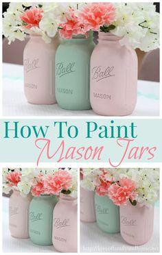 Painted Mason Jars from Love of Family and Home #masonjars