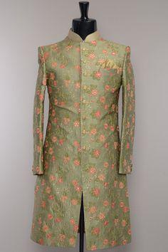 Leaf Green Raw Silk Resham Embroidered Wedding Sherwani-SH448