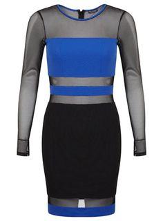 Cobalt Panel Mesh Dress