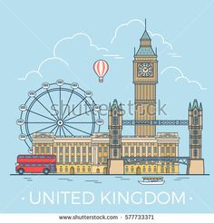 United Kingdom country design template. Linear Flat famous historic sight; cartoon style web site vector illustration. World travel and showplaces in Europe, European vacation collection.