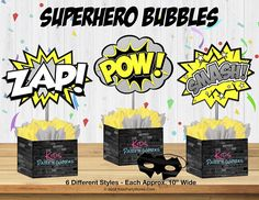 Superhero BUBBLES-Comic Bubble-Birthday Party-Superhero Bubble Birthday Parties, Birthday Party Celebration, Batman Birthday, Superhero Birthday Party, Comic Bubble, Happy Birthday Signs, Kids Party Supplies, Party Signs, Bubbles