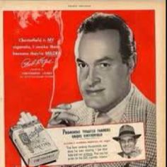 "Vintage Cigarette Ad ""Bob Hope Smokes Chesterfields"""