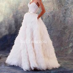 Ostrich Feather Wedding Dresses Formal Bridal Gowns Sweetheart Strapless Lace | Clothing, Shoes & Accessories, Wedding & Formal Occasion, Wedding Dresses | eBay!
