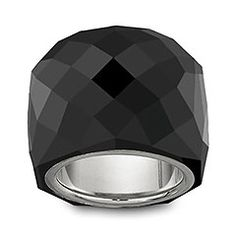 Faceted Jet crystal ring; silver-plated inner ring.