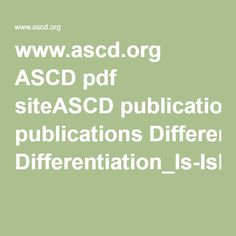 www.ascd.org ASCD pdf siteASCD publications Differentiation_Is-IsNot_infographic.pdf