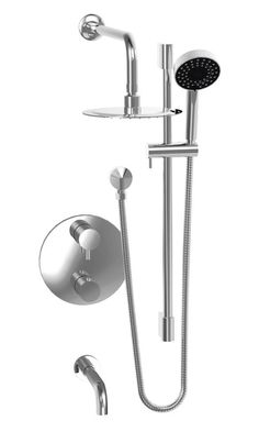Jalo   Thermostatic Shower Valve With Rain Shower Head, Tub Filler And  Sliding Rail Set   Chrome     Home Depot Canada
